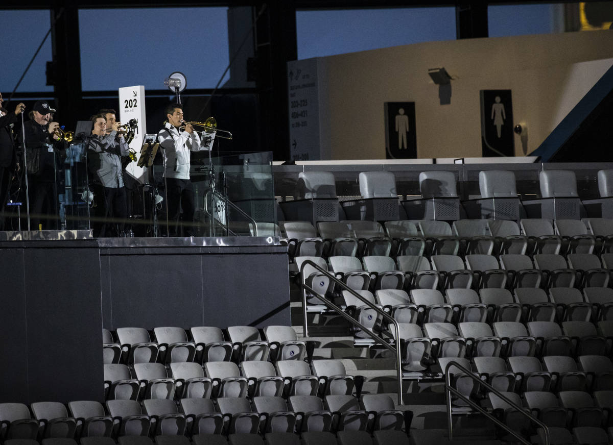 Members of Santa Fe & The Fat City Horns perform at Allegiant Stadium in Las Vegas on Sunda ...