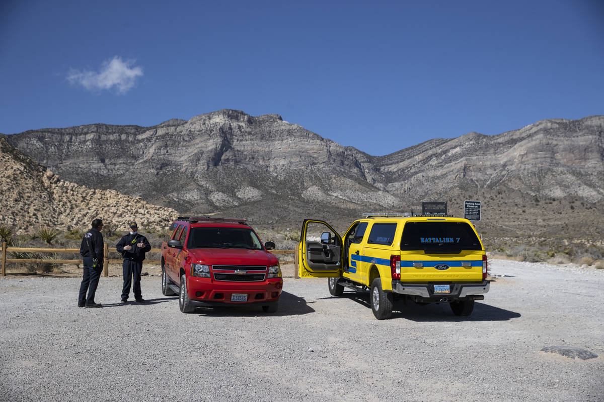 First responders with the Clark County Fire Department and Las Vegas Fire & Rescue at the W ...