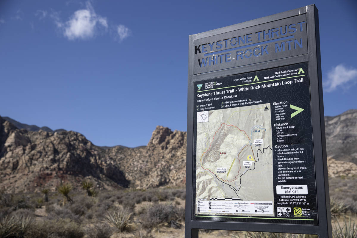 The White Rock Mountain Loop Trail parking area along the Red Rock scenic drive after a success ...