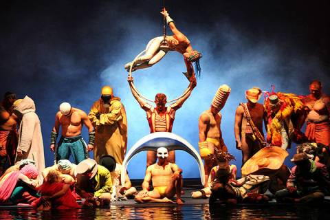"The cast of Cirque du Soleil's ""0"" perform during a 10th anniversary show at the Bellagio in th ..."