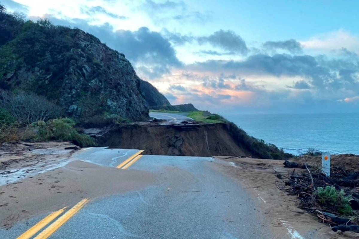 A section of Highway 1 is collapsed following a heavy rainstorm near Big Sur, Calif., on Friday ...