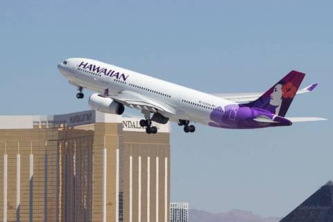 A Hawaiian Airlines jetliner departs from McCarran International Airport in Las Vegas in 2017. ...