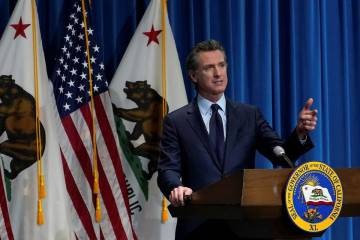 California Gov. Gavin Newsom speaks about his 2021-2022 state budget proposal in Sacramento, Ca ...