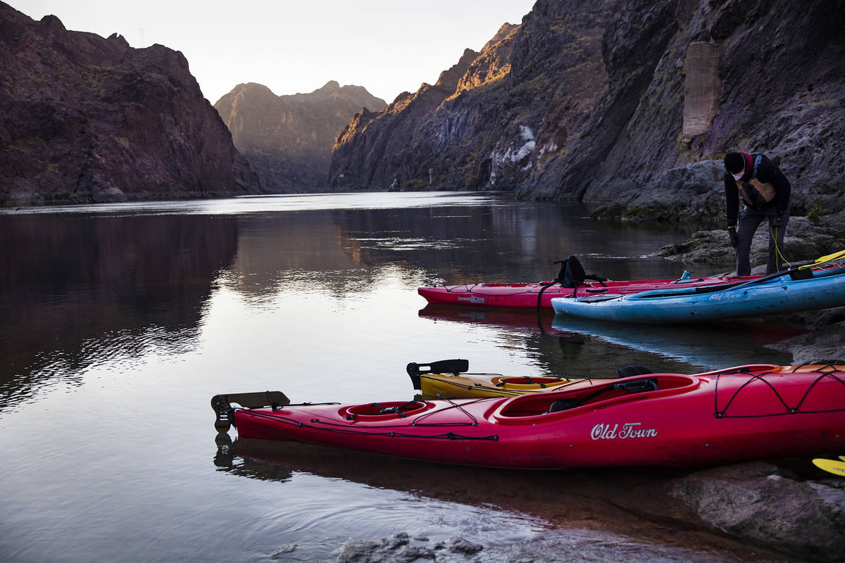 From the launch point at the base of Hoover Dam, paddlers can set off in kayaks or canoes thro ...