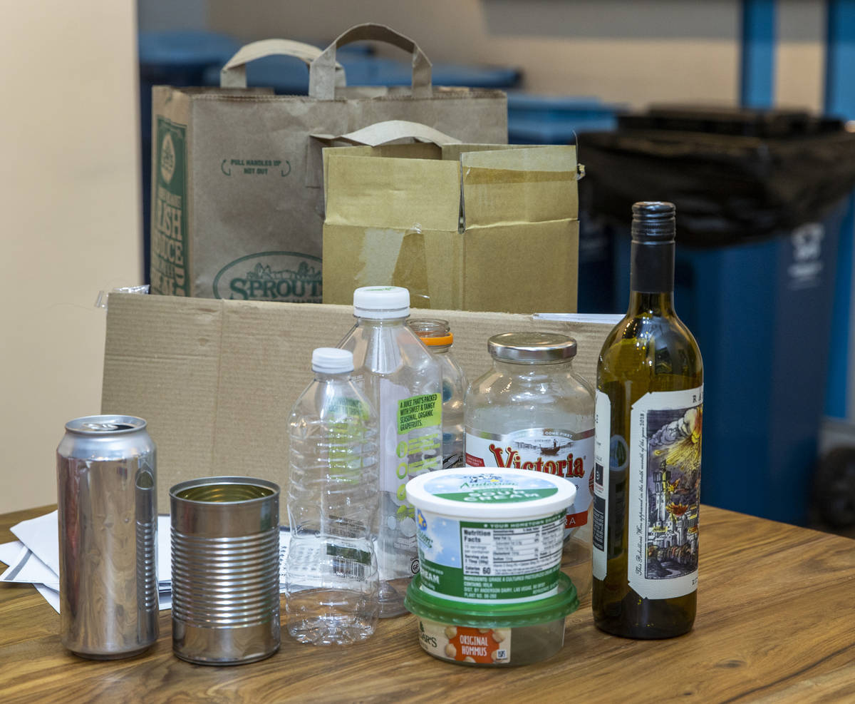 Items that can be recycled, though they must be free of food waste, are on display at the Repub ...