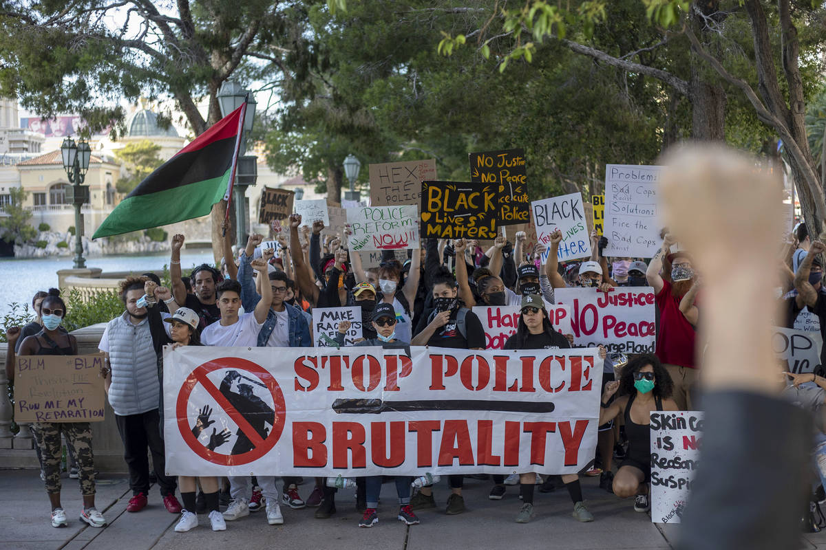 A protest against police brutality begins its route from Bellagio to the Welcome to Fabulous La ...