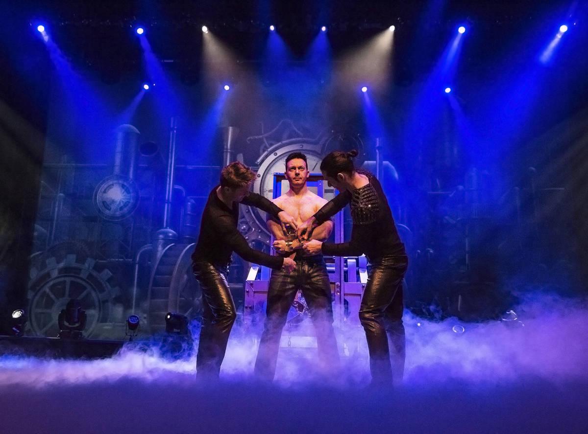 Illusionist David Goldrake, middle, rehearses for his new show Imaginarium on Thursday, June 22 ...