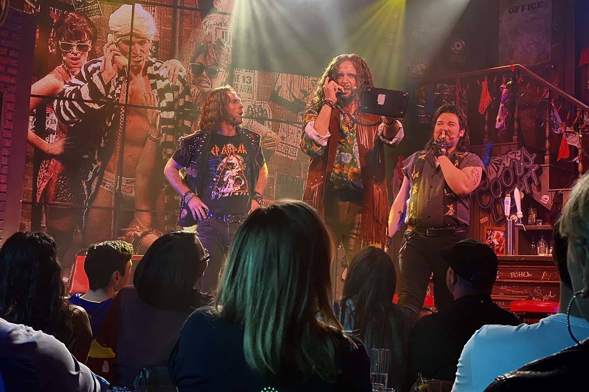 """The cast of """"Rock of Ages,"""" with the late Nick Cordero portraying Dennis DuPree, parties it up ..."""