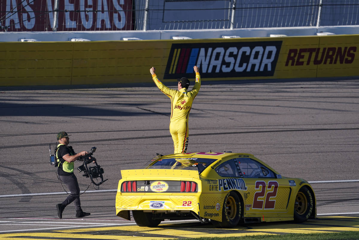 Joey Logano reacts after winning a NASCAR Cup Series auto race at the Las Vegas Motor Speedway ...
