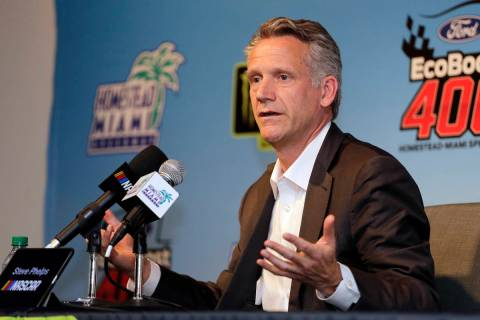 NASCAR President Steve Phelps speaks during a news conference before the NASCAR Cup Series Cham ...