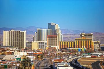 The downtown Reno skyline on Tuesday, Jan. 19, 2021. (Benjamin Hager/Las Vegas Review-Journal) ...