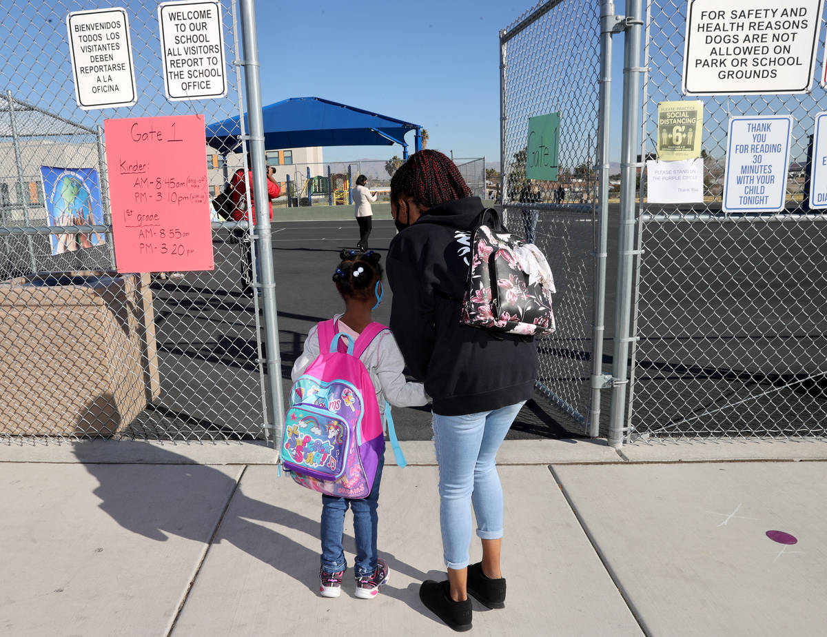 Brooke Gabriel drops off her first grader Brooklin Gabriel for the first day of face-to-face hy ...