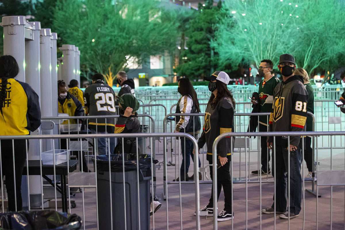 Fans arrive for the first Golden Knights game with fans allowed to return since the start of th ...