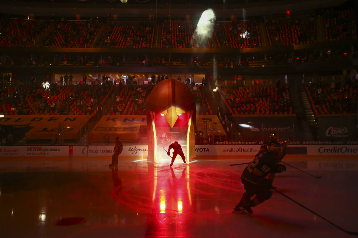 The Golden Knights take to the ice before taking on the Minnesota Wild in an NHL hockey game at ...