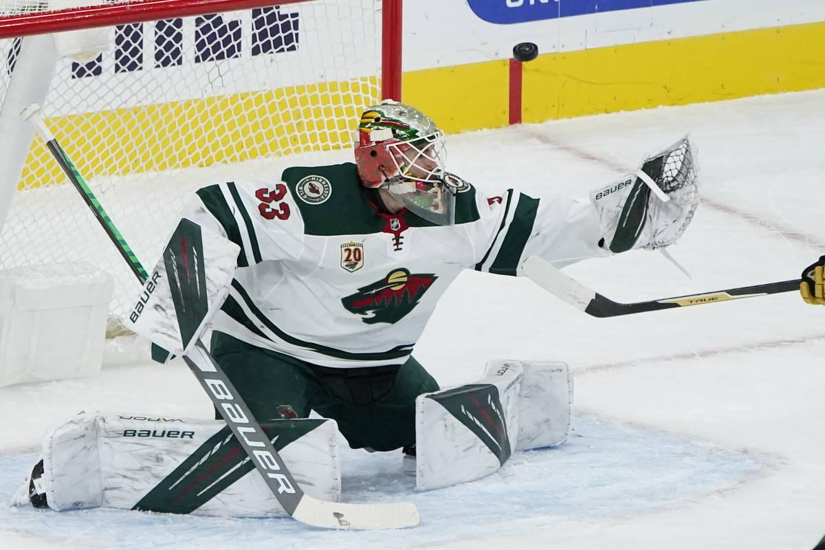 Minnesota Wild goaltender Cam Talbot (33) looks at an attempted shot by the Vegas Golden Knight ...