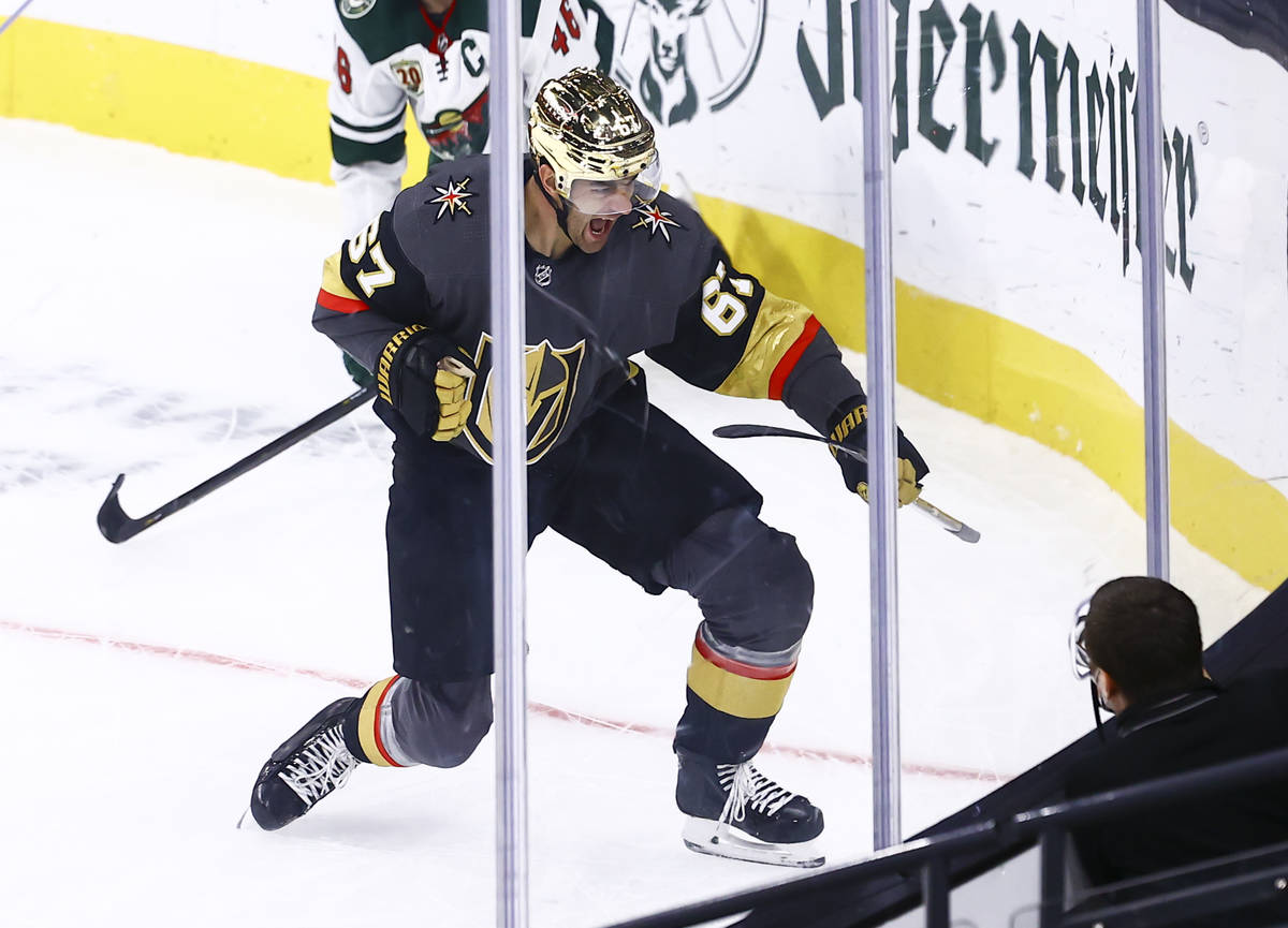 Golden Knights left wing Max Pacioretty (67) celebrates after scoring a goal in overtime to def ...
