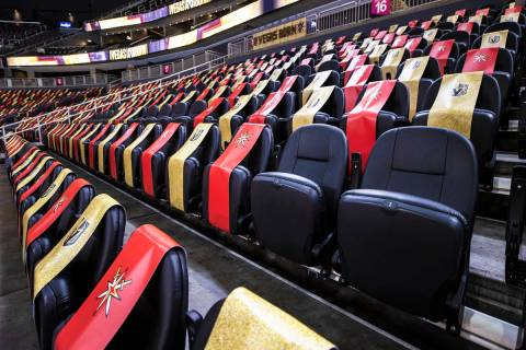 Socially distanced seats at T-Mobile Arena on Thursday, Feb. 25, 2021, in Las Vegas. The Golden ...