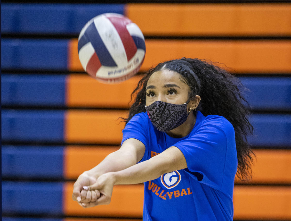 Sofia Elowefo returns the ball during a varsity girls volleyball practice at Bishop Gorman High ...