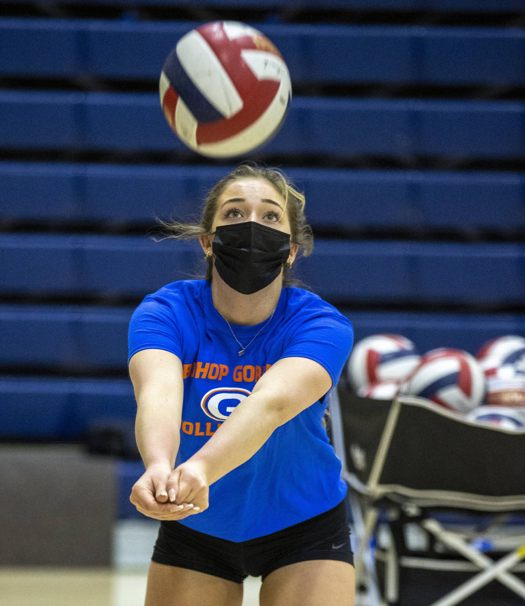 Morgan Mixer returns the ball during a varsity girls volleyball practice at Bishop Gorman High ...