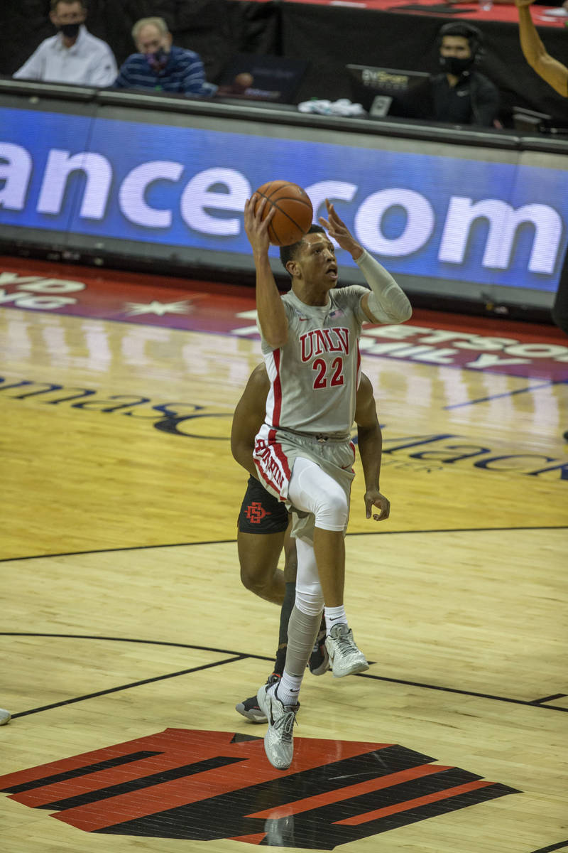 UNLV Rebels guard Nicquel Blake (22) looks to pass during the first half of an NCAA men's baske ...
