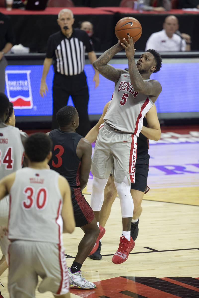 UNLV Rebels guard David Jenkins Jr. (5) shoots a jump shot during the second half of an NCAA me ...