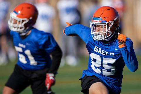 Bishop Gorman's D.J. Herman (25) works through defensive drills during practice on Friday, Feb. ...