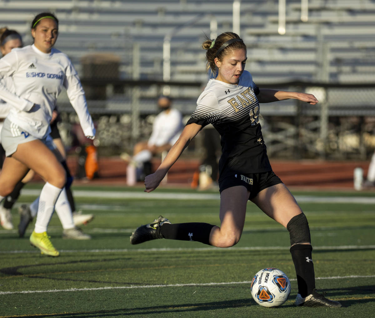 Faith Lutheran's Ari Gronauer (10) winds up for the only goal of the game versus Bishop Gorman ...