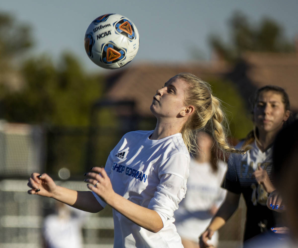 Bishop Gorman's Michelle Madrid (11) controls the ball versus Faith Lutheran during the first h ...