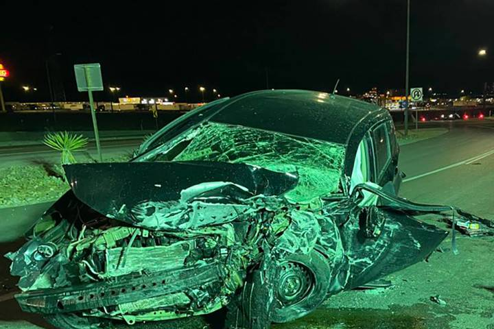 Nevada Highway Patrol is investigating a single-vehicle crash on Monday, March 1, 2021. (Nevada ...