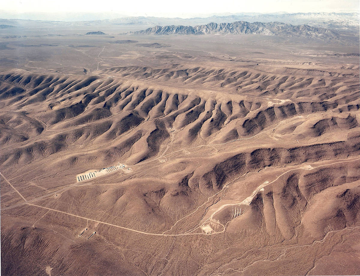 An overhead look at Yucca Mountain looking west in Nye County in this undated photo. (U.S. Depa ...