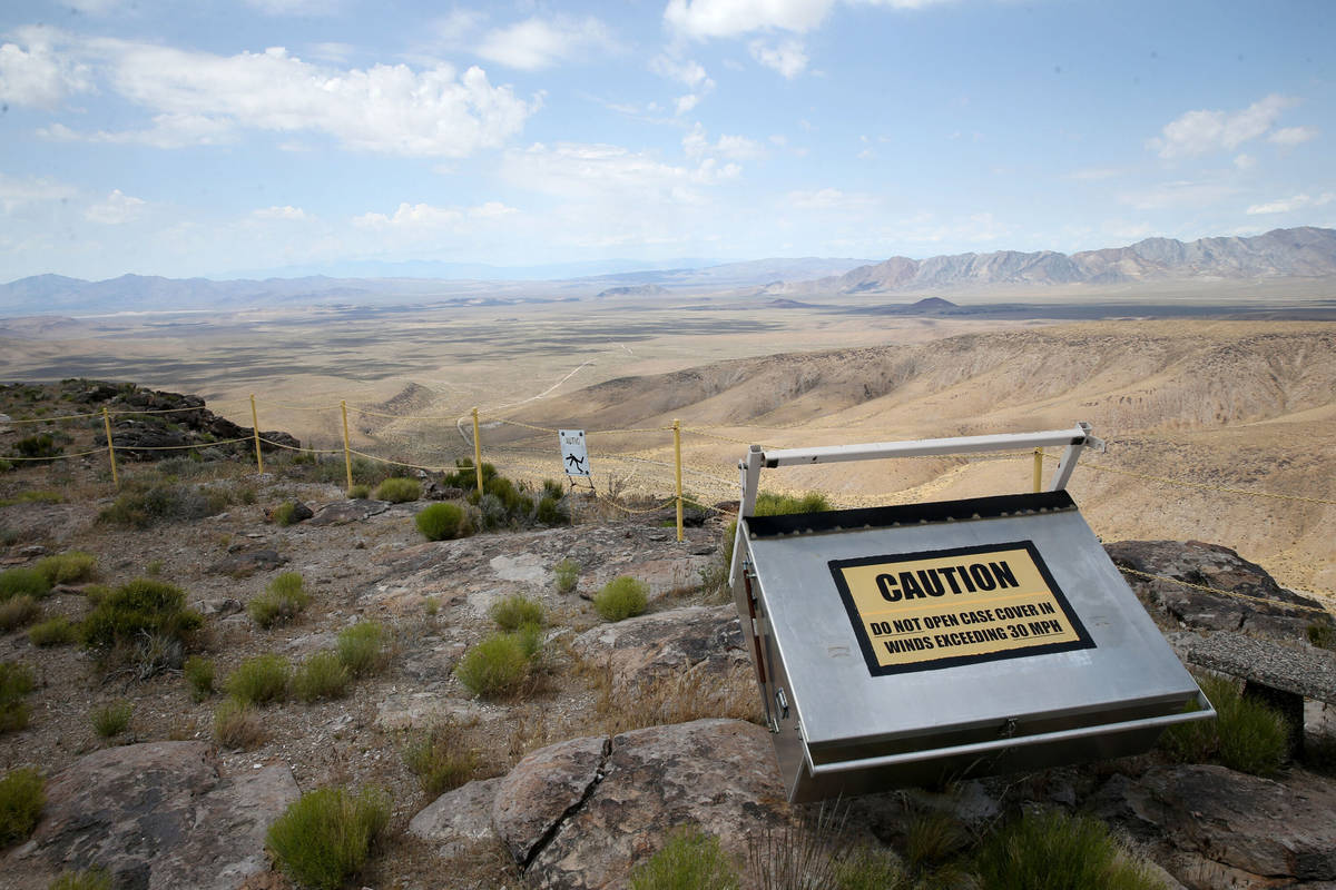 This May 31, 2019, file photo shows a high ridge line on Yucca Mountain, 90 miles northwest of ...