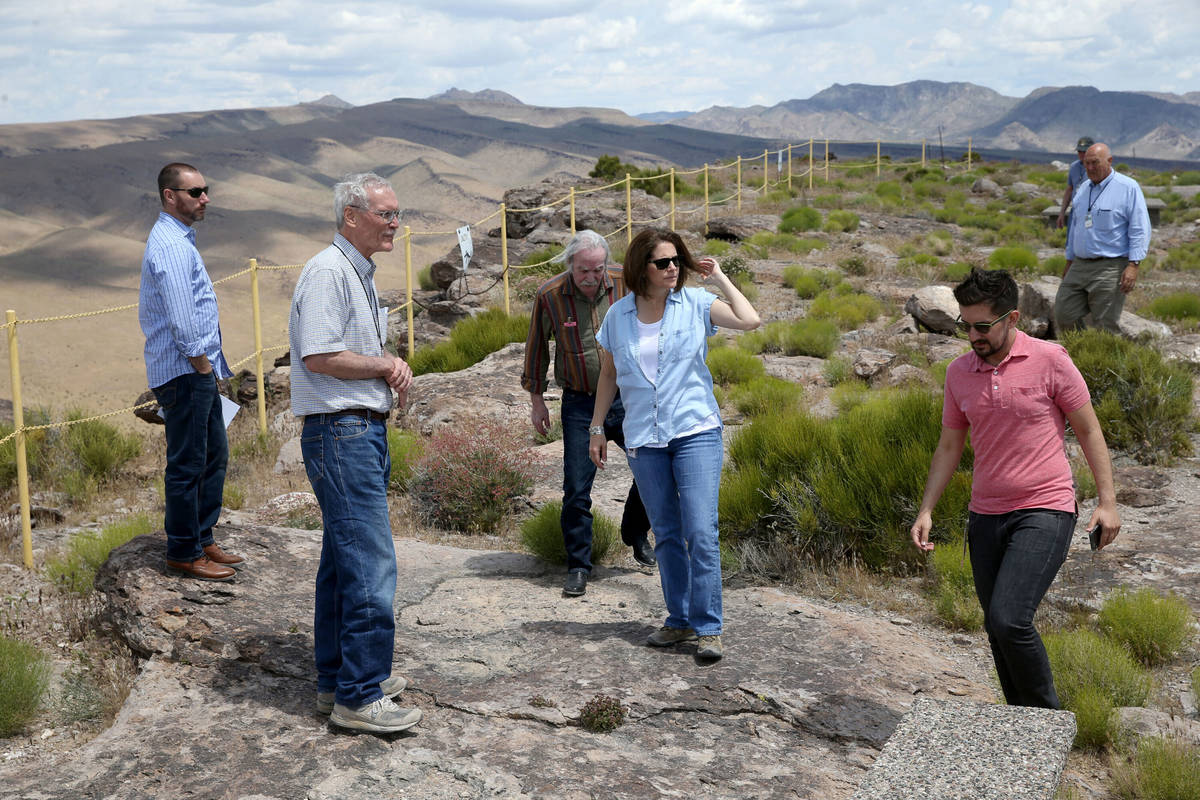 In this May 31, 2019, file photo, U.S. Sen. Catherine Cortez Masto, D-Nev., gets a tour on a hi ...