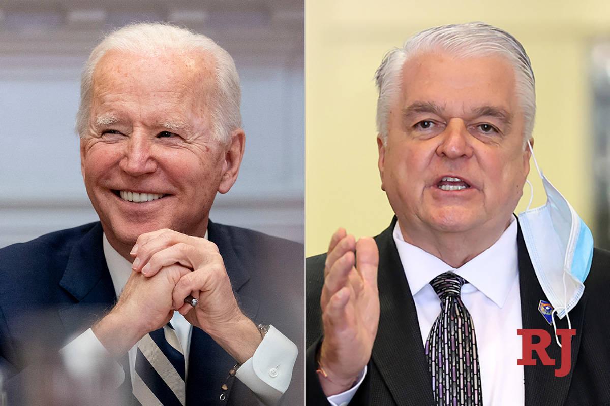 President Joe Biden, left, and Nevada Governor Steve Sisolak, right. (The Associated Press/Las ...