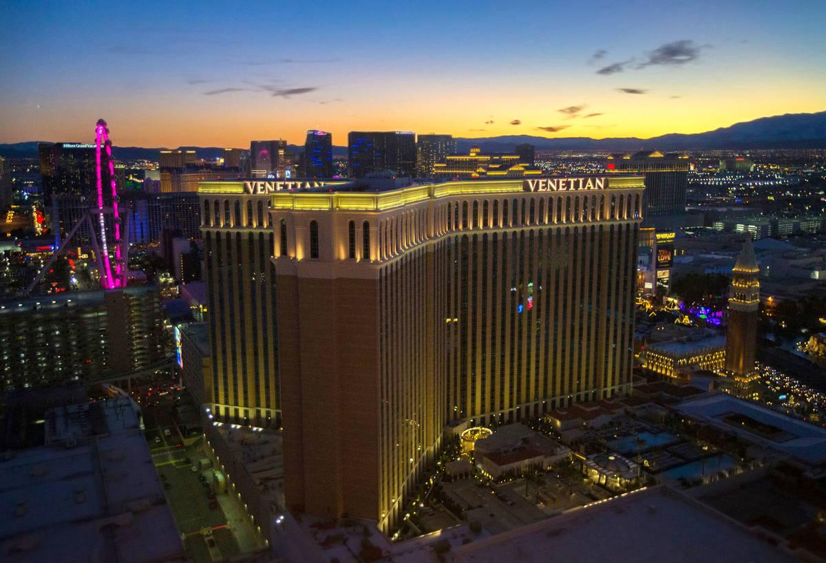 This Dec. 31, 2019, file photo shows The Venetian on the Las Vegas Strip. (Benjamin Hager/Las V ...