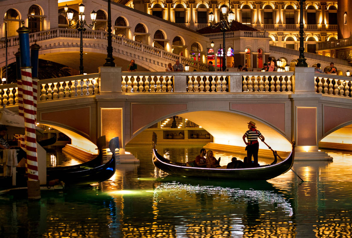 Tourists ride gondolas at The Venetianon Wednesday, April 24, 2019, in Las Vegas. (L.E. B ...