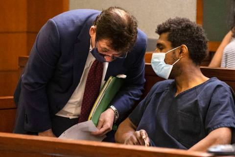 Brandon Leath, accused of punching and killing a man outside Bally's, talks to his attorney, Ma ...