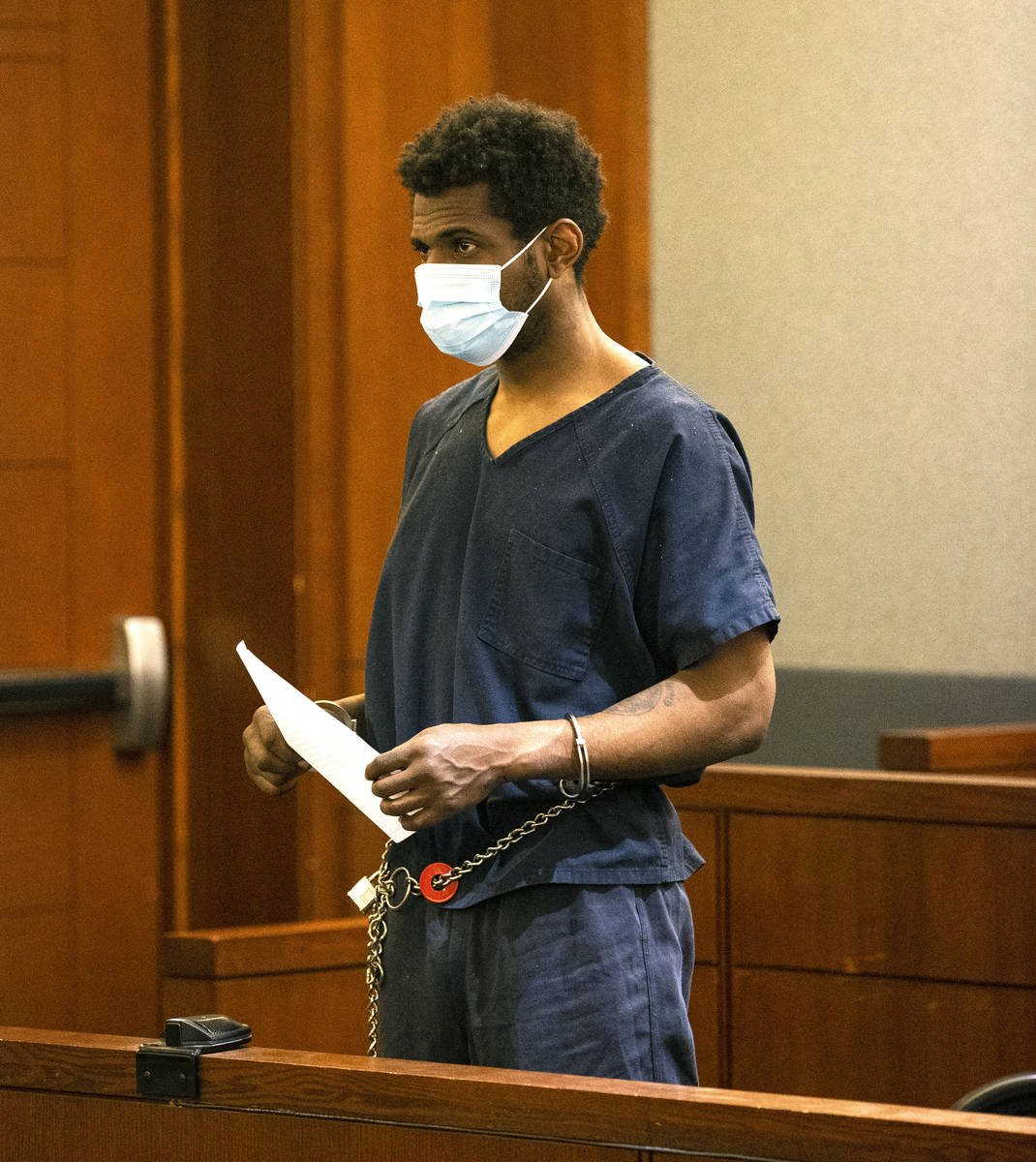 Brandon Leath, accused of punching and killing a man on the Strip, appears in court at the Regi ...