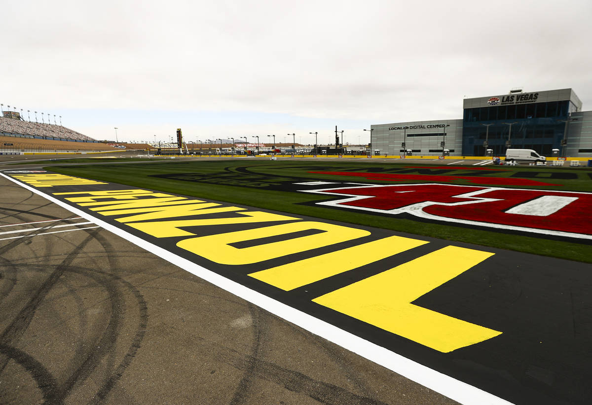 Logos on the infield grass are seen ahead of the Pennzoil 400 weekend, slated to begin this Fri ...