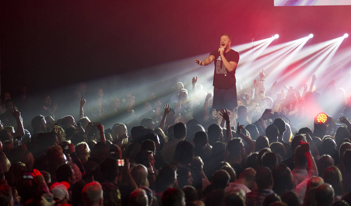 """Imagine Dragons frontman Dan Reynolds performs during a show for the bands' album """"Origins"""" at ..."""