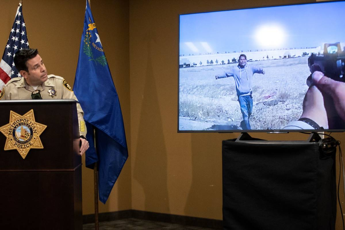Assistant Sheriff Brett Zimmerman gives a press briefing on an officer involved shooting involv ...