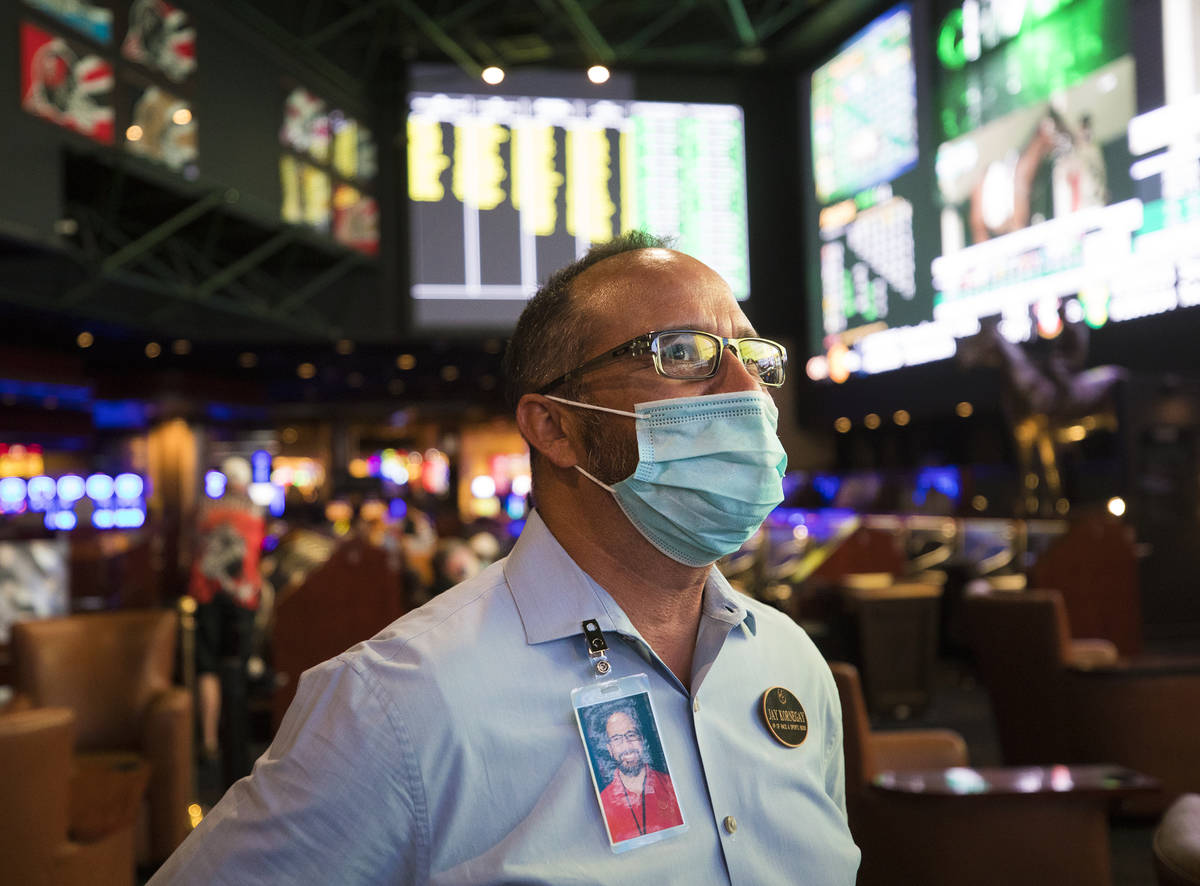 Jay Kornegay, vice president of Westgate Sportsbook, talks to the Review-Journal on the first d ...