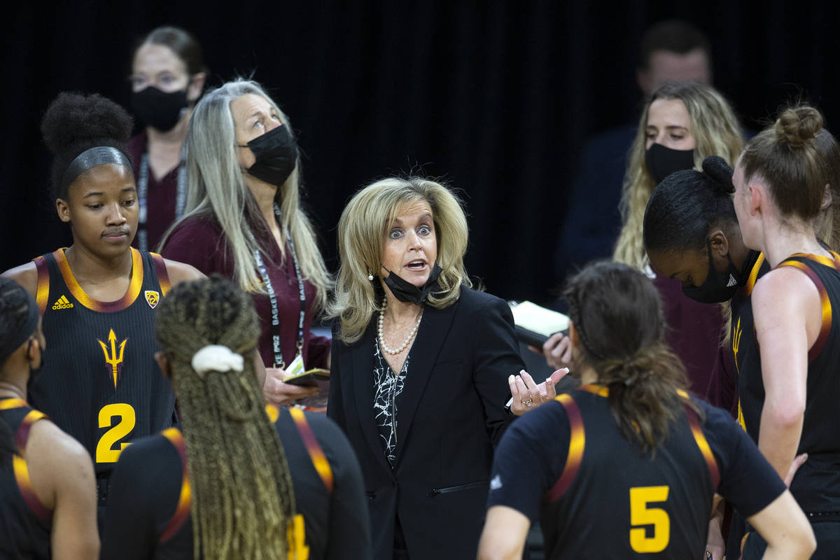 Arizona State Sun Devils head coach Charli Turner Thorne coaches her team during a time out in ...