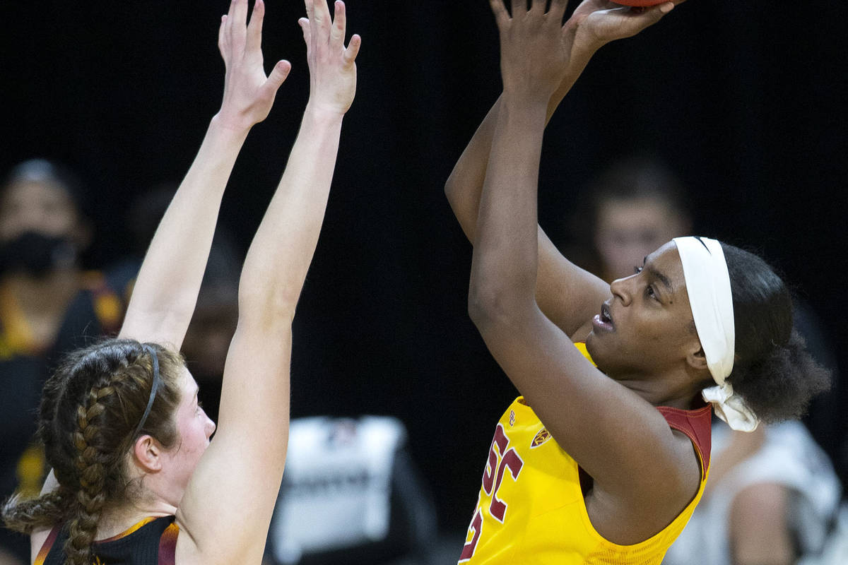 USC Trojans forward Jordyn Jenkins (32) shoots and scores a point as Arizona State Sun Devils g ...