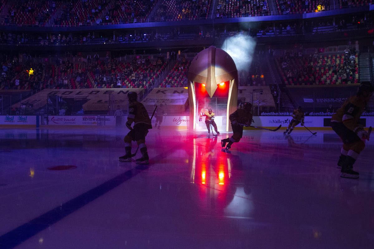 The Golden Knights take the ice befor their NHL hockey game against the Minnesota Wild on Wedne ...