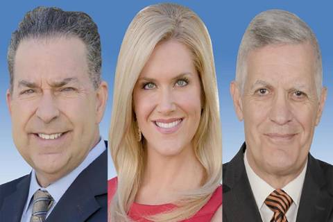 Gerard Ramalo, from left, Heather Mills and Jerry Brown were three of four KSNV-News 3 on-air p ...