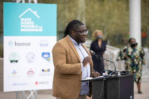 Nevada Partners Executive Director Kenadie Cobbin-Richardson speaks during a press conference t ...