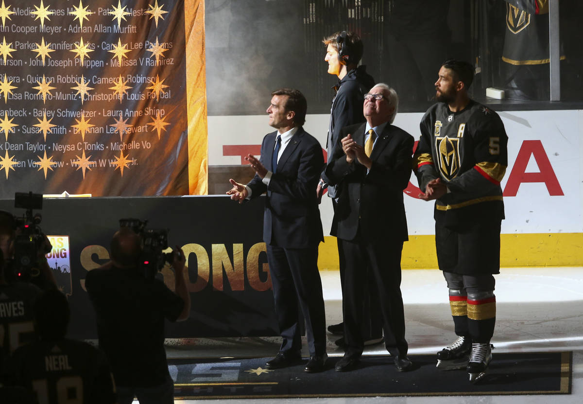 Golden Knights general manager George McPhee, from left, team owner Bill Foley and defenseman D ...