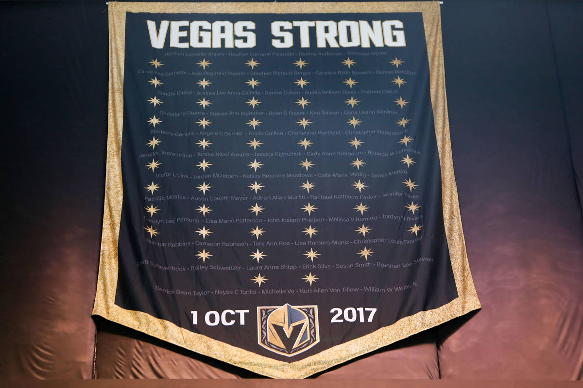 """The """"Vegas Strong"""" banner is seen at T-Mobile Arena in Las Vegas, Thursday, March ..."""