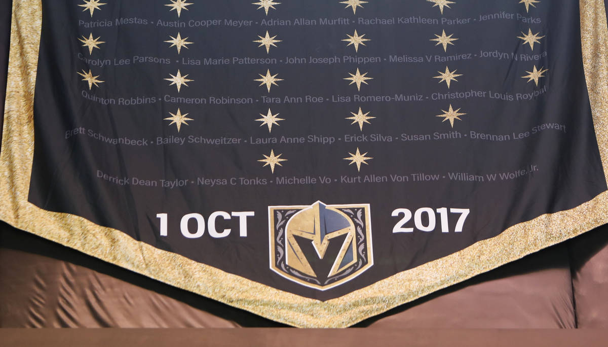 The ÒVegas StrongÓ banner is seen at T-Mobile Arena in Las Vegas, Thursday, March 4, ...