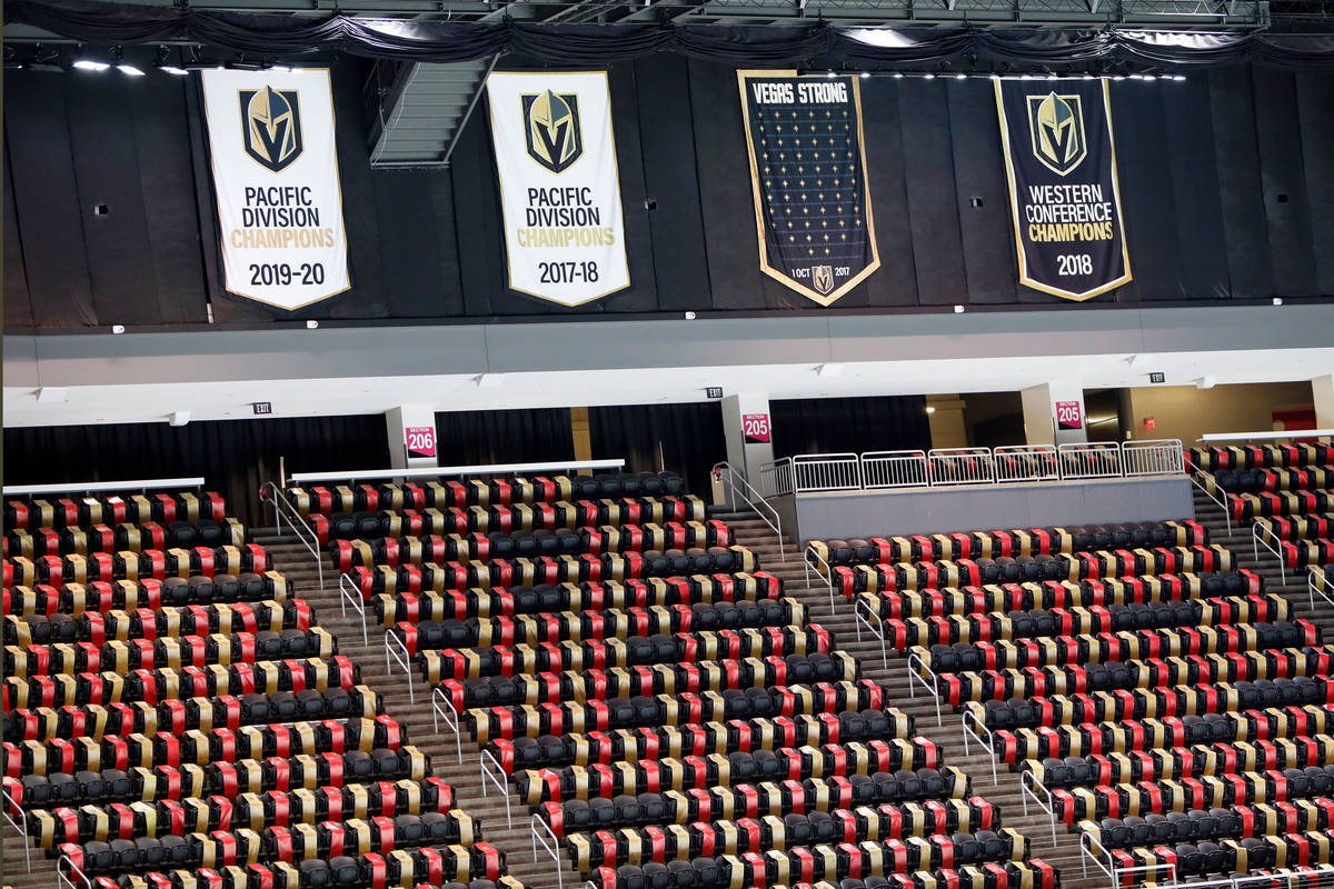 """The """"Vegas Strong"""" banner, second from right, is seen at T-Mobile Arena in Las Ve ..."""